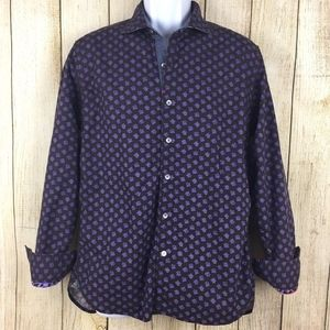 Robert Graham Mens Purple Floral Button Down Shirt